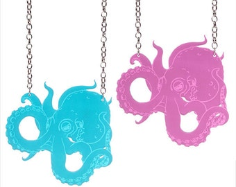 Octopus necklace - laser cut acrylic