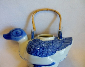 BLUE & WHITE Vintage Porcelain Duck/ Goose Hand Painted Teapot ~ Pitcher ~ Duck  ~ Goose ~ Country Cottage Home
