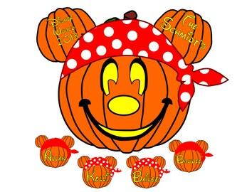 Custom Personalized Halloween Pirate Pumpkin Disney Cruise Line Stateroom Door Magnet