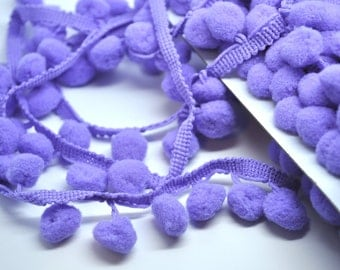 ORCHID 5 yards pom pom fringe - 1 inch - purple - trim - party garland - gift wrap - papercraft - sewing