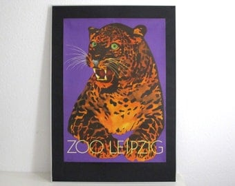 SUMMER SALE 30% OFF!!  Original Zoo Advertising Poster- Leipzig (East Germany) 1970s- striking purple leopard design
