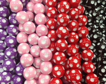 20mm acrylic polka dot, dotted, spot beads, gumball