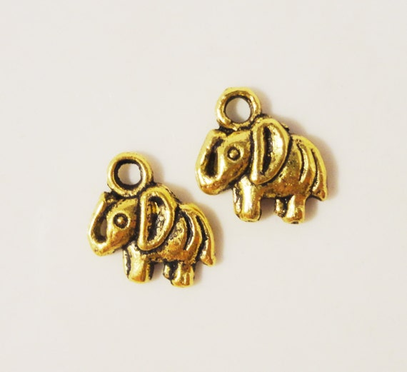 Gold Elephant Charms 11x11mm Antique Gold Tone Metal Alloy Small Elephant Animal Charm Pendant Jewelry Making Jewelry Findings 10pcs