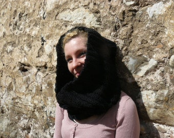 Chunky cowl scarf, black crochet snood, infinity circle hood, knit oversized neckwarmer