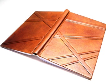 Brown Geometrical Leather Book - Journal, embossed stripes, Blank Pages. For Men.