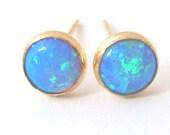 opal studs, opal stud earring,  blue opal studs