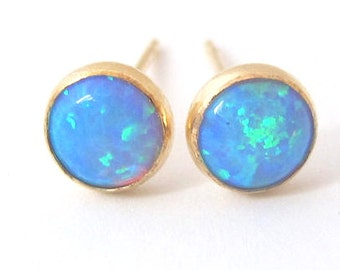opal earrings, opal stud earring,  blue opal stud earrings