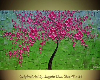 Original  Modern  Pink Blossom  Tree  Impasto Painting Palette Knife  Fine Art landscape  Painting. Made2Order.