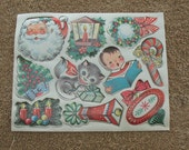 Vintage Christmas Sticker Decal Lot 10 Examples 1950s Retro Christmas Package Holiday Card Decor