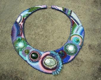 Statement Necklace, Beadwork in Emerald, Sapphire, Peridot, Amethyst
