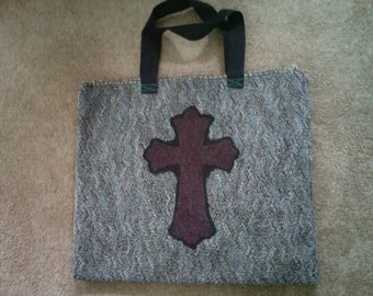 Beautiful large tote with hand painted cross