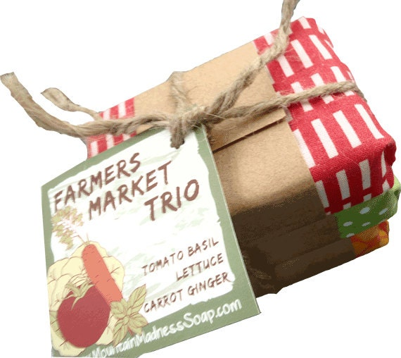 Vegan Mother's Day gifts: Farmers Market Trio Vegan Gourmet Soap