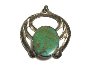 Sterling Silver Turquoise Pendant - Weight 24.7 Grams - Southwestern - REDUCED # 1929