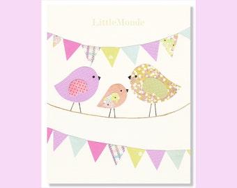NURSERY ART PRINT, Nursery Birds, Baby Girl Decor, Personalized Nursery Print, Purple Nursery, Purple and beige Nursery Decor
