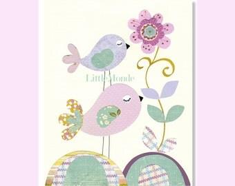 Baby Girl Nursery Prints, Purple Nursery, Lavender Nursery Art, Birds, Purple And Blue, Turquoise