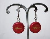 Dogfish Head Shark Bottle Cap Earrings