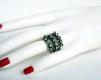 swarovski crystal tibetan silver plated ring gray crystal swarovski wedding jewelry bridal jewelry bridesmaid gift