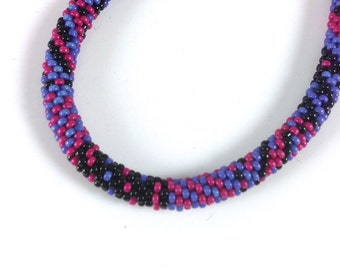 Opaque Magenta, Black & Blue Crochet Bracelet