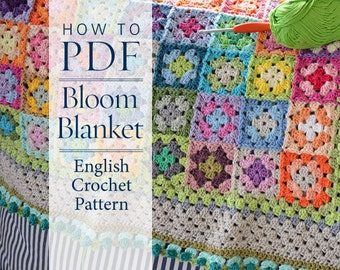 Crochet Pattern, Bloom Blanket, step by step US terms DIY pattern ready to download by CrochetObjet