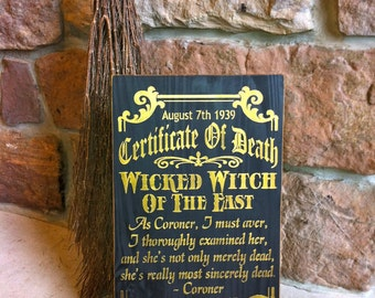 Halloween Wicked Witch Death Certificate Sign