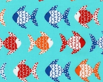 """Robert Kaufman """"Don't Be Crabby"""" by Laurie Wisbrun Swimming Fish in Nautical"""