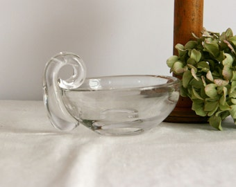 Vintage Glass Candy Dish thick glass heavy with handle for the holidays nut dish
