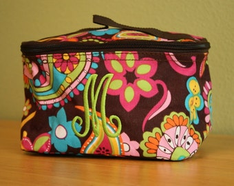 CLEARANCE - Personalized Monogrammed Printed Brown Pattern Make-up Cosmetic Bag Bridesmaid Gift