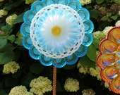 Recycled Vintage Glass Flower Suncatcher / Repurposed Glass Plates bowls / Glass Flower Garden Yard Art Sculpture - TheBlueRam