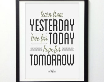 "Inspirational Quote Wall Art ""Learn From Yesterday Live For Today"" Vintage Signs, Typography Poster, Inspirational Print, Quote Posters"