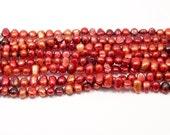 Red Orange Potato Pearls, Dark Red Nugget Pearls 6-7mm--full strand