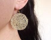 Gold hoop earrings, crochet wire earrings, crochet wire jewelry, disc earrings, crocheted wire hoops, wire jewelry hoop earrings