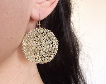Gold hoop earrings, crochet wire earrings, crochet wire jewelry, disc earrings, crocheted wire hoops, wire jewelry hoop earrings