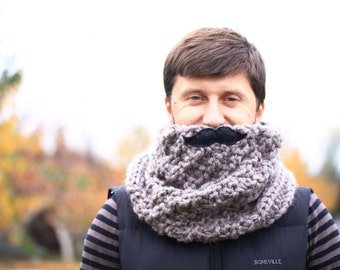 Hand Khit Men's Cowl, Mens Scarf Mustache Men's Snood Cowl, Men's Winter Scarf Anniversary for him, Christmas Gift, Gift for Him Boyfriend