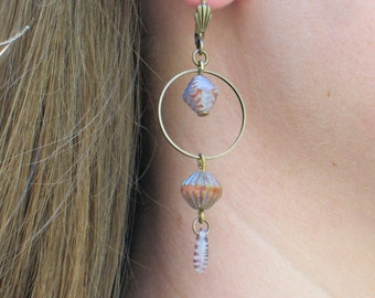 Purple Glass Bead Earrings - Vintage Flair Earrings - Purple Glass Bead Earrings with Brass Leverbacks - GIFTS UNDER 20 -
