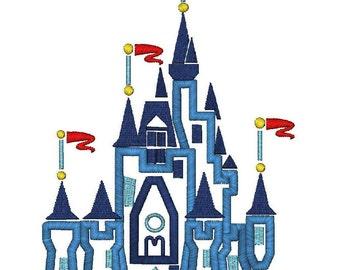 Fairy Tale Castle Applique Machine Embroidery Design 3 Design Files