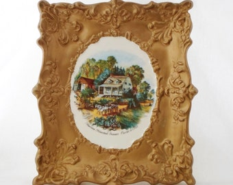 Currier & Ives, American Homestead Summer, Ceramic wall Hanging, Gold, Cottage Chic, Vintage, Yozie Mold, Frame, Art, Collectibles