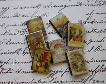 Dollhouse miniature set of  7 vintage tales books