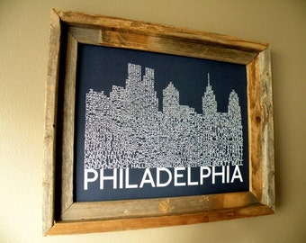 Philadelphia Skyline Word Art Print (Dark Blue)