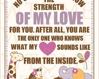 Strength Of My Love, 8x10 Nursery Art, CoCaLo JACANA BEDDING, Nursery Print