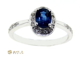 Beautiful Engagement Ring with diamonds and blue sapphire stone.  200-00009