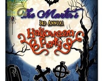 Halloween Invitation - Adult Halloween Invitation - Halloween Party Invitation - Bats and Cemetery Halloween Invitation - Annual Halloween