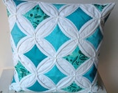 Cathedral Window Pillow in Turquoise and Teal, Sale Priced, Hand Quilted Throw Pillow