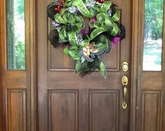Witchy Deco Mesh Halloween Wreath