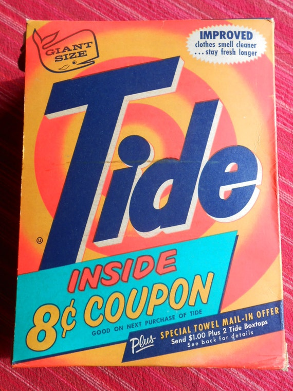 Vintage Tide Laundry Detergent Box 1962 With Cents Off Coupon