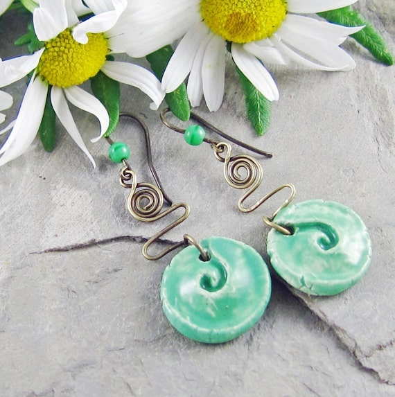 Ceramic Spiral Earrings Rustic Green Wirework Handmade Brass Ear Wires