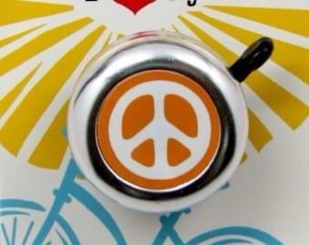Orange Peace Sign Bike Bell