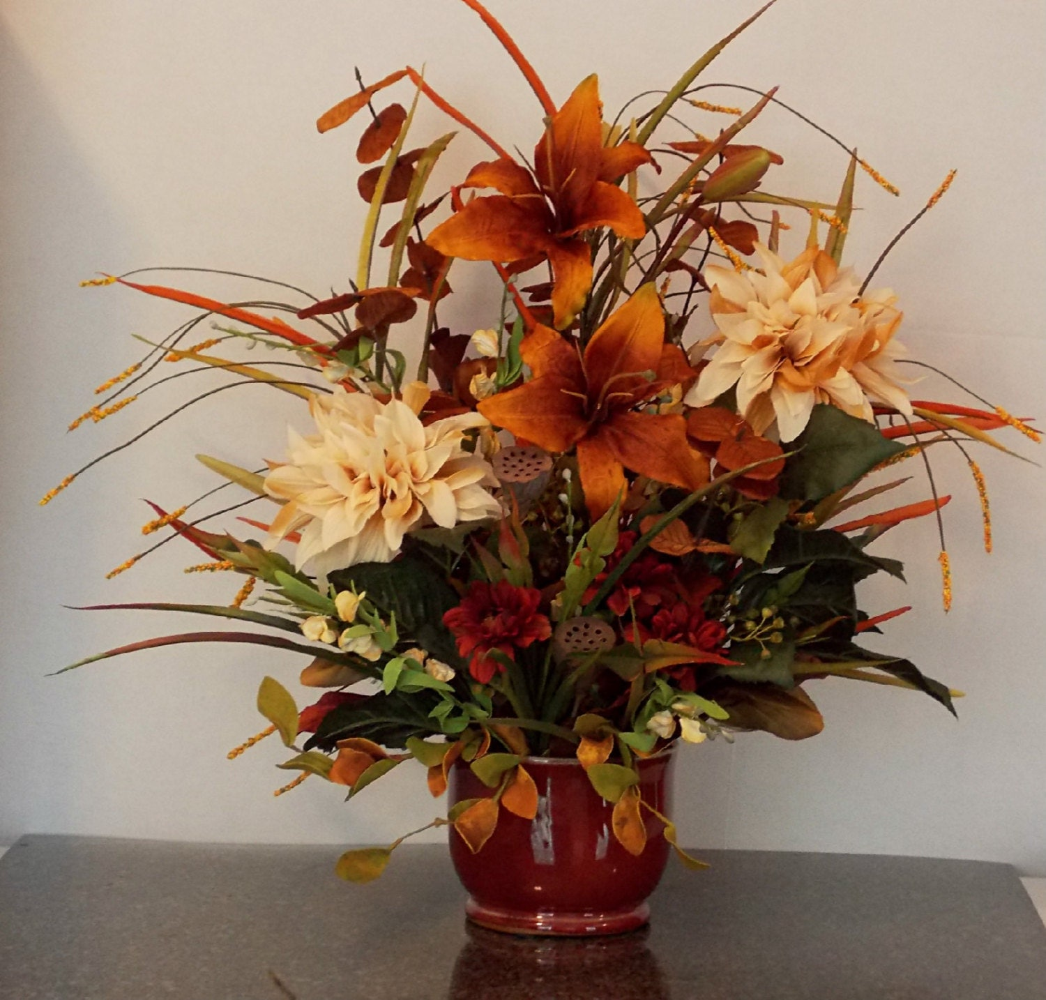 Silk Flower Arrangements Church Altar: Fall Silk Floral Arrangement With Copper Day Lillies Sofa