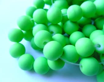 Fun Green Rubberized 8mm Glass Bead Strand (16 or 32 inches)    -CGY-3