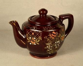 Redware Teapot Tea Pot Single Serving Hand Painted Japan