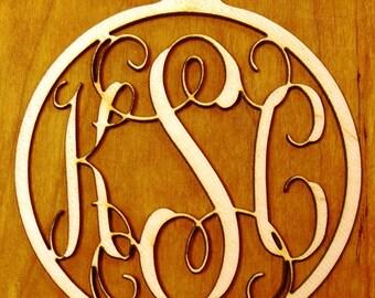 """Monogram Ornament 4"""" Wood 3 letter"""